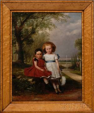 American School 19th Century Portrait of Two Children in a Garden
