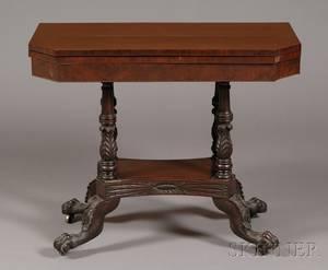 Classical Mahogany Carved and Mahogany Veneer Games Table