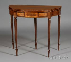 Federal Mahogany and Satinwood Inlaid Card Table
