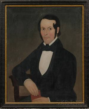 American School 19th Century Portrait of a Gentleman Holding a Red Book
