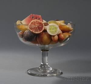 Large Colorless Blown Glass Compote Filled with Carved and Painted Stone Fruit