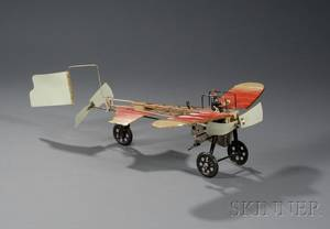 Einco Bleriot Windup Lithographed Tin Airplane Toy in Original Box
