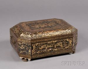 Gilt Decorated Chinese Export Lacquer Sewing Box