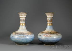 Pair of Large Paris Porcelain Vases with Handpainted Harbor Scenes