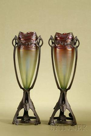 Pair of Austrian Art Nouveau Iridescent Glass and Bronze Mantel Vases
