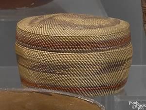 Lidded Makah finely woven basket