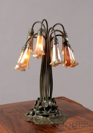 Tiffany Studios Tenlight Favrile Glass and Greenpatinated Bronze Lily Lamp