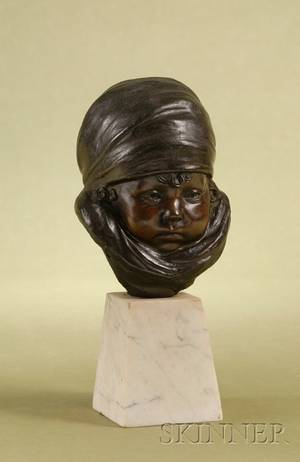 French Patinated Bronze Bust of a Bundled Infant