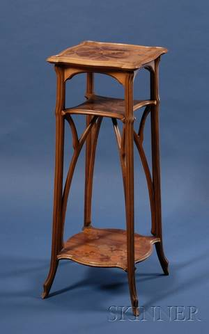 Galle Art Nouveau Marquetryinlaid Walnut Plant Stand
