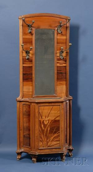 Galle Art Nouveau Fruitwood Marquetryinlaid and Bronzemounted Hall Tree