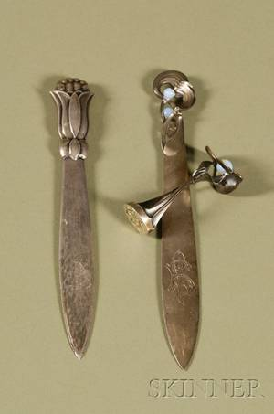 Art Nouveau Opalescent Glass and Bronze Seal Matching Letter Opener and a Jensen Silver Letter Opener
