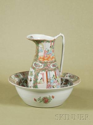 Chinese Porcelain Rose Medallion Water Pitcher and Similar Basin
