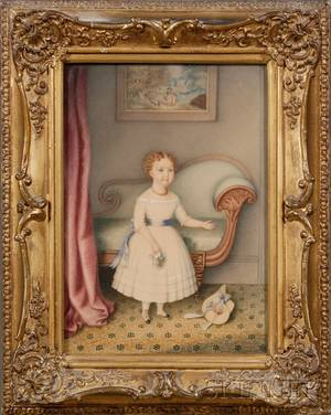 Hannah Fairfield American 18081894 Portrait of a Little Girl in White Dress Holding a Bouquet in an Empire Interior