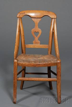 Country Classical Fruitwood and Rush Seat Childs Chair