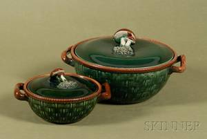 Two Tellurite Majolicaglazed Covered Serving Dishes