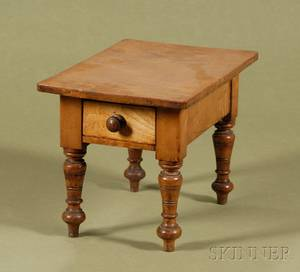 Miniature American Country Tiger Maple Single Drawer Table