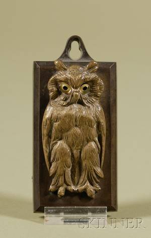American Cast Brass and Glassmounted Owlform Paper Holder