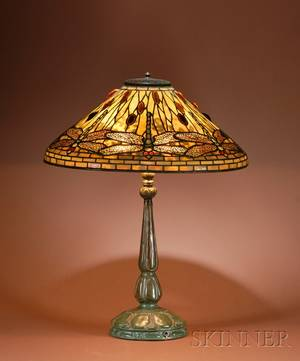 Tiffany Studios Leaded Glass and Bronze Dragonfly Pattern Table Lamp