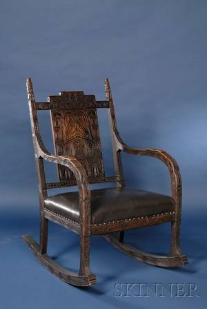 North American Northwest Coast Tlingitstyle Carved Walnut Rocking Chair