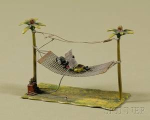 Viennese Coldpainted Bronze of a Figure in a Hammock