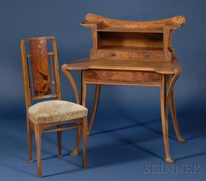 French Art Nouveau Marquetryinlaid Walnut Writing Desk and Associated Side Chair