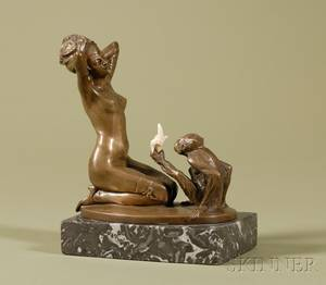 Art Decostyle Erotic Bronze and Ivory Mounted Figure of a Nude Woman and a Monkey