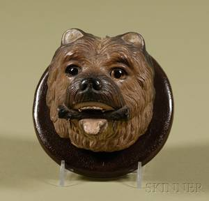 GermanAustrian Painted Terracotta Wall Plaque of a Terrier Head