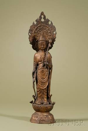 Asian Export Painted Castiron Figure of Guan Yin