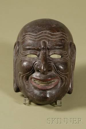 Carved Wood Noh Mask