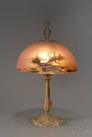 American Painted Glass Table Lamp