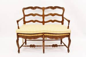 Fruitwood Rush Seat Ladderback Settee