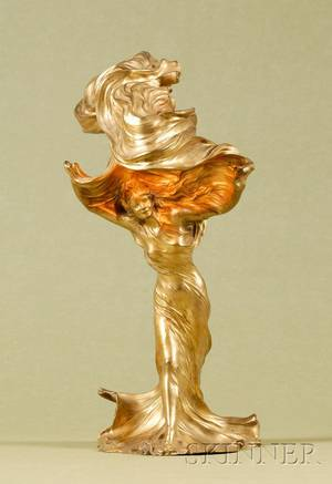 French Art Nouveau Gilt Bronze Figural Lamp Loie Fuller by Raoul Larche 18601912