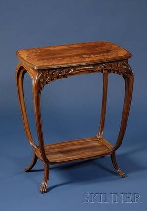 Majorelle Art Nouveau Fruitwood Marquetryinlaid Walnut Side Table