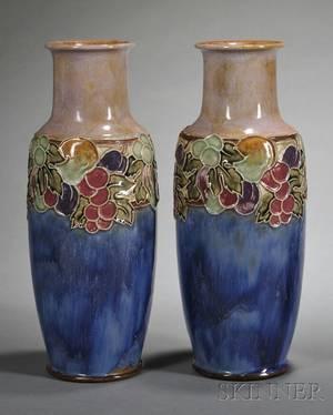 Pair of Royal Doulton Art Nouveaustyle Vases