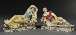 Pair of Staffordshire Earthenware Figures of Anthony and Cleopatra