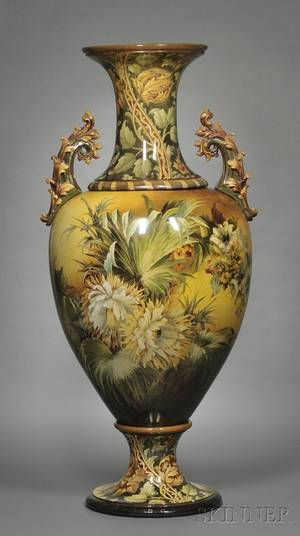 Large Doulton Lambeth Faience Floor Vase
