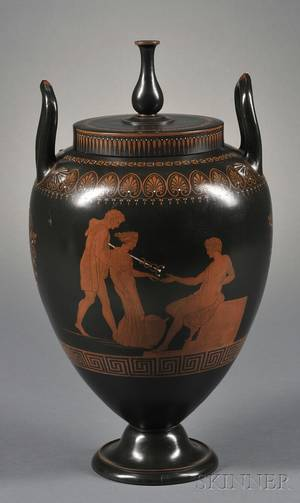 Wedgwood Encaustic Decorated Black Basalt Vase and Cover