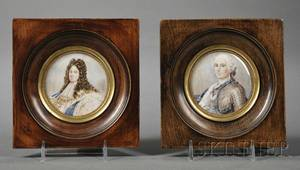 Two Miniature Portraits on Ivory of French Kings