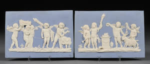 Pair of Wedgwood Solid Light Blue Jasper Plaques