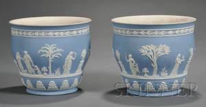 Pair of Wedgwood Light Blue Jasper Dip Plant Pots