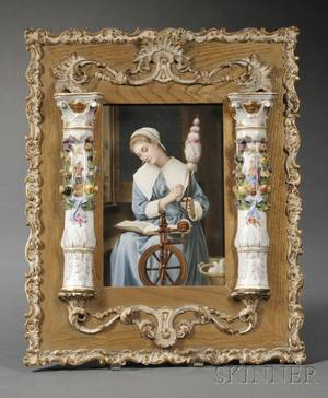 Continental Painted Porcelain Plaque in Porcelainmounted Frame