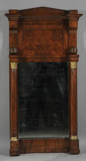 Empire Mahogany Veneer and Parcelgilt Pier Mirror