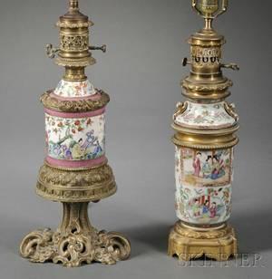 Two Rose Mandarin Porcelain Metalmounted Lamp Bases