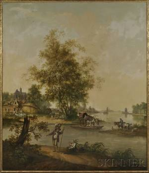 Continental School 19th Century Grand View of a Village River Crossing