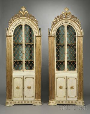 Pair of Italian Neoclassical Cream and Gold Painted Dometop Library Cabinets