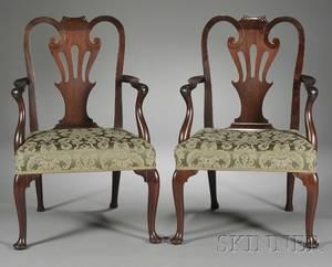 Pair of English Mahogany Armchairs