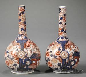 Pair of Japanese Imari Porcelain Bottleform Vases