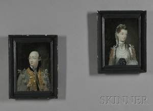 Pair of Reversepaintings on Glass of King George III and Queen Charlotte