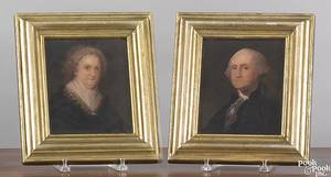 Pair of American oil on board portraits 19th c