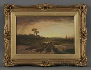 Paul R Koehler American 18661909 Shepherd with Flock at Sunset